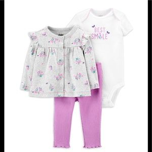 🟣 Carter's 3 piece Baby Girl Outfit Set